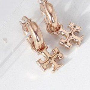 Tory Burch Earrings Rose Gold Logo Drop Hoops New